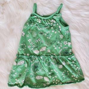 Green cotton dress w/ ruffles & lace